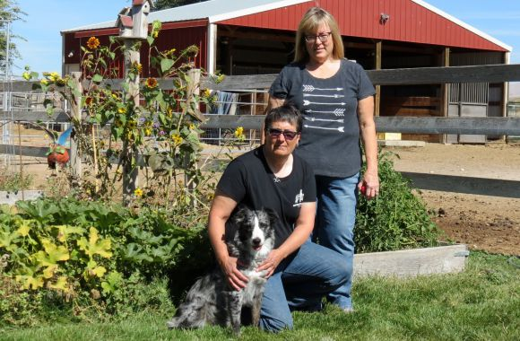 Sage with Andrea and Hilerie at their Farm in Eagle, Idaho.